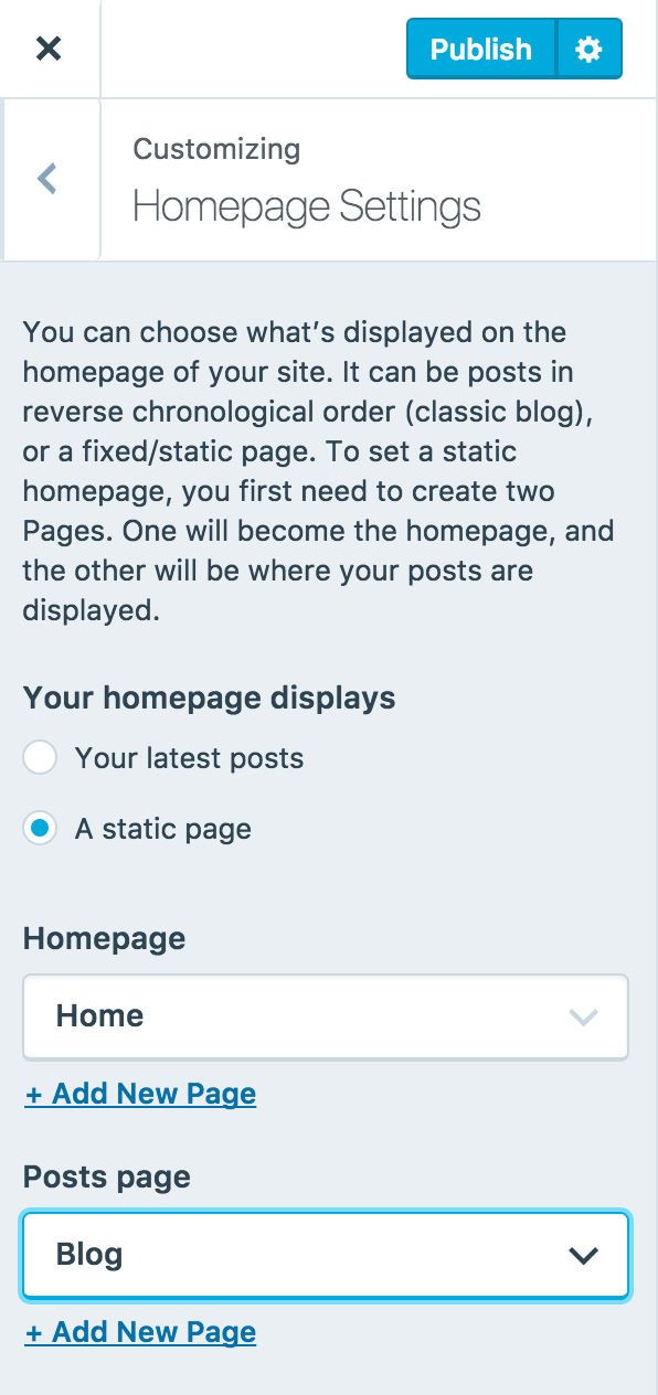 Set A Static Home Page Front Page Support