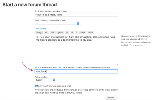 Adding a modlook tag to a new thread