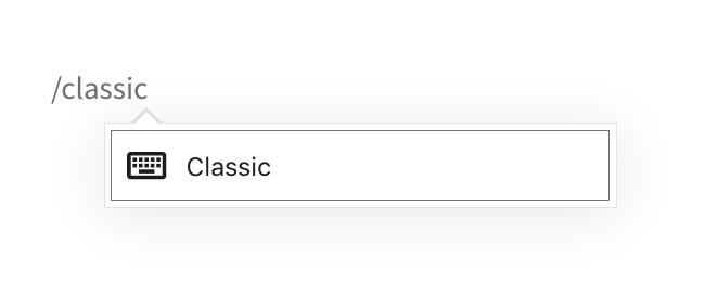 Classic Block Add Typing
