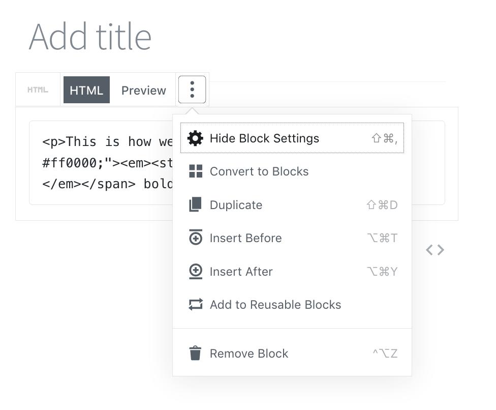 Options du bloc HTML