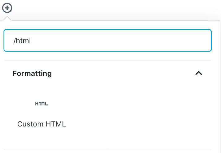 HTML Block Add Typing