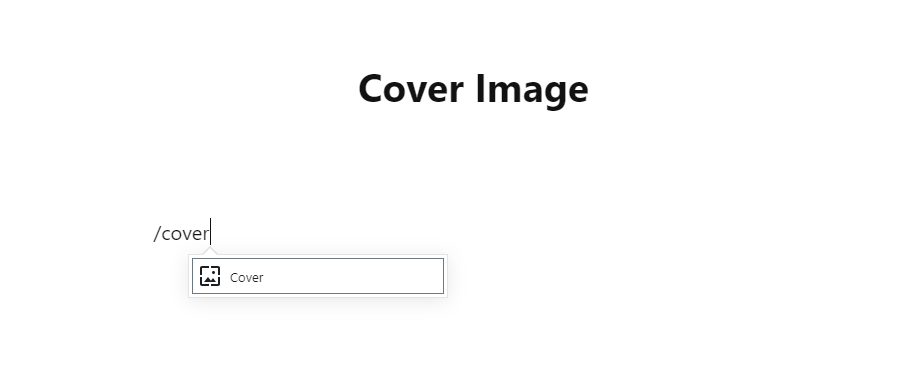 Use the slash command /cover to insert a cover image.
