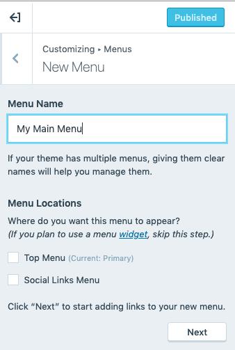 Custom Menu - New Menu Details