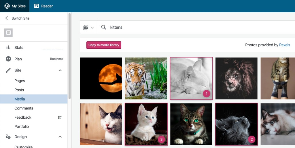 Select any images you want to add to your site through the Free Photo Library.
