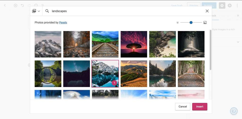 Select the image you want to add to your site from the Free Photo Library within the editor.
