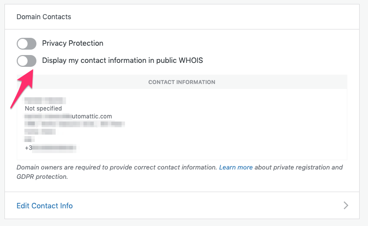 Display Contact Information in Public WHOIS
