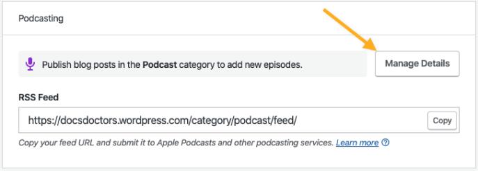 Managing Podcast Details