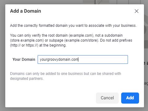 Adding a domain in Facebook.